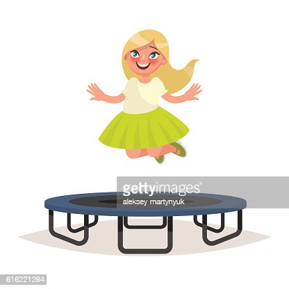 Happy girl jumping on a trampoline. Vector illustration : Vector Art