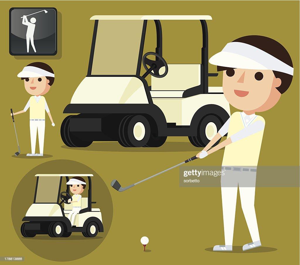 Happy Golfer : Vector Art