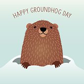 Happy Groundhog Day design with cute groundhog emerging from his den in the snow to predict the coming of Spring