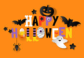 Happy Halloween banner design with typography and decorations background. Vector illustration