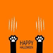 Happy Halloween. Black cat scratching paw print leg foot set. Bloody claws animal scratch scrape track. Cute cartoon character body part silhouette. Baby pet collection. Flat Orange background. Vector