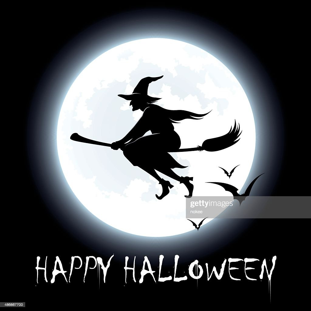 happy halloween flying witch vector art - Flying Halloween Witch