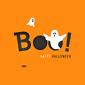 Happy Halloween greeting card vector illustration, Boo! with flying ghost and spider web on orange background.