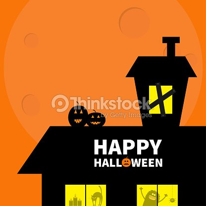 Happy Halloween Haunted House Roof Attic Loft Light On Boardedup Windows Cat Arch Back Monster Spider Pumpkin Candle Big Moon Funny Cartoon Character Orange Background Flat Design Stock Vector Thinkstock