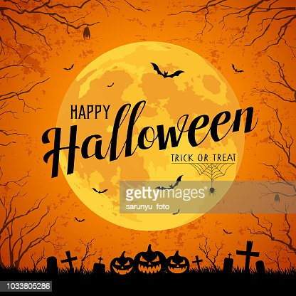 Happy Halloween message yellow full moon and bat on tree : Vector Art