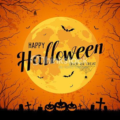 Happy Halloween message yellow full moon and bat on tree : stock vector