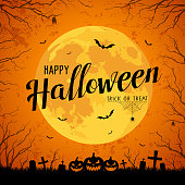 Happy Halloween message yellow full moon and bat on tree with rough surface background, vector illustration