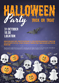 Happy Halloween party poster template. Paper cut style. Vector illusration. Can be used for template, banners, wallpaper, flyers, invitation, posters, brochure, voucher discount. Vector illustration
