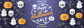 Happy Halloween sale vector banner. Paper cut style. Vector illusration. Can be used for template, banners, wallpaper, flyers, invitation, posters, brochure, voucher discount. Vector illustration