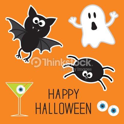 Happy Halloween Définie Fantôme De Chauvesouris Yeux Spider