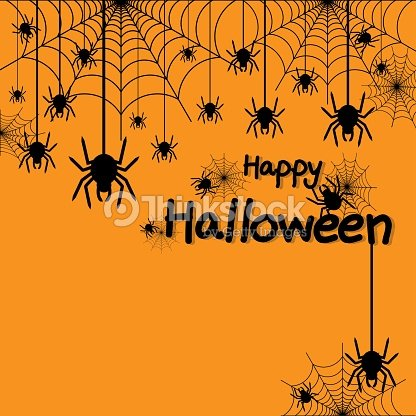 happy halloween spider web and spiders for greeting card poster