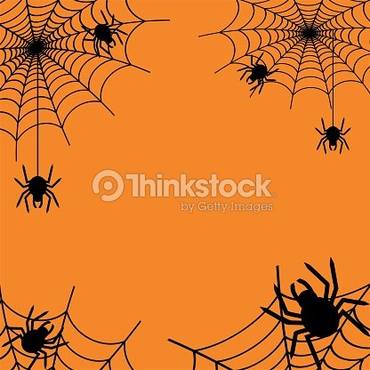 happy halloween spider web and spiders on orange background for