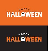 Happy Halloween Typography Over Orange and Black with Spider and Ghost. Vector Illustration.