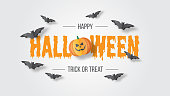 Happy Halloween vector banner. Paper cut style. Vector illusration. Can be used for template, banners, wallpaper, flyers, invitation, posters, brochure, voucher discount. Vector illustration