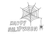 Happy halloween,line drawing style,vector design
