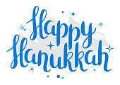 Happy Hanukkah celebration holiday card with lettering.