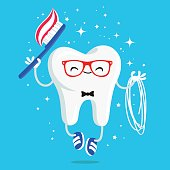 Happy healthy tooth with toothpaste, brush and floss in red glasses and blue sneakers. Vector illustration on a blue background. Concept of children's dentistry. Excellent dental card. Cute character.
