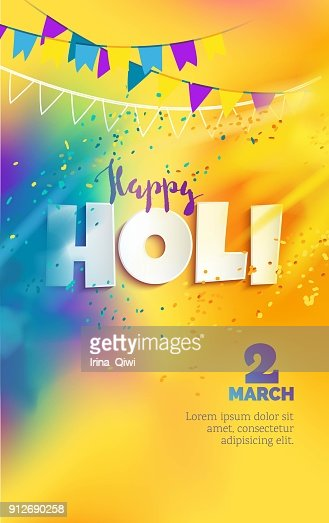 Happy Holi colores de fondo con nubes de polvo realista pintura y texto en 3d. : arte vectorial