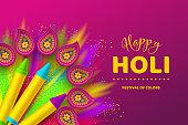 Happy Holi colorful background for celebration hindu Festival of Colors. 3d realistic holi pichkari with color splash and rangoli. Vector illustration.