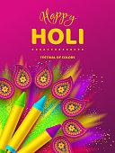 Happy Holi colorful poster for celebration hindu Festival of Colors. 3d realistic holi pichkari with color splash and rangoli. Vector illustration.