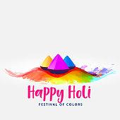 happy holi colors elements festival card greeting design
