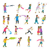 Happy holi set of 20 children characters playing holi. Vector set of characters. Cartoon flat style.