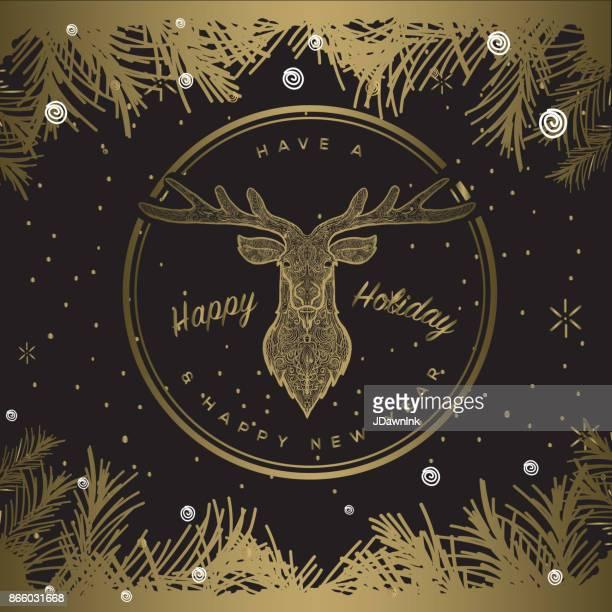 Happy Holiday cirkel ontwerp labelsjabloon met herten
