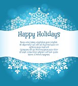 Happy holidays blue background with text. Vector snowflakes vacation poster