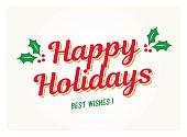 Happy holidays card with mistletoes. Editable vector design.