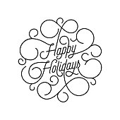 Happy Holidays flourish calligraphy lettering of swash line typography for greeting card design. Vector festive ornamental quote Christmas or New Year text of swirl pattern outline on white background