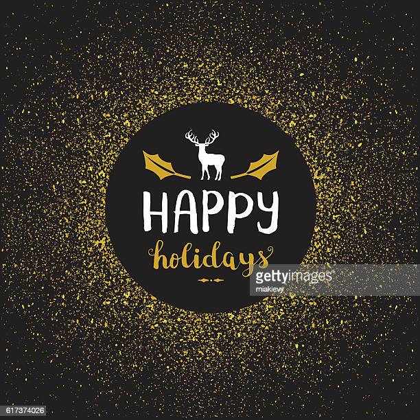 Happy holidays golden glitter