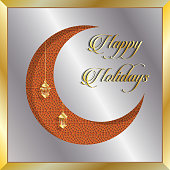 Happy Holidays greeting card with silver and gold crescent moon. All the objects are in different layers and the text types do not need any font.