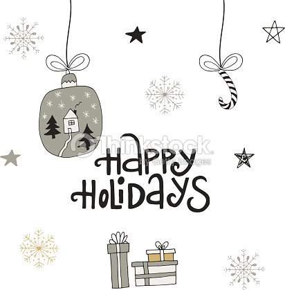 Happy Holidays Hand Drawn Christmas Lettering With Xmas Decoration ...