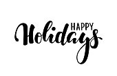 Happy holidays. Hand drawn creative calligraphy, brush pen lettering. design holiday greeting cards and invitations of Merry Christmas and Happy New Year, banner, poster, seasonal holiday.