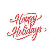 Happy Holidays hand lettering text design for seasonal holiday greeting cards and invitations. Vector illustration.