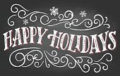 Happy holidays. Vintage hand lettering on blackboard background with chalk. Christmas typography