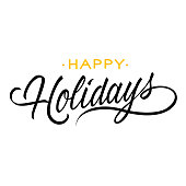 Happy holidays lettering. Creative inscription with swirl elements. Handwritten text, calligraphy. Can be used for postcards, posters and leaflets
