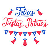 Felices Fiestas Patrias, Spanish for Happy National Holidays. Dieciocho, Independence Day of Chile. Vector design set. Text lettering, Copihue (national flower) and Chilean flags.
