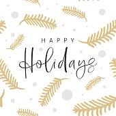 Happy holidays phrase. Ink illustration. Christmas greeting card. Modern brush calligraphy isolated on white background. Seamless pattern.