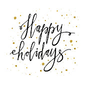 Happy holidays postcard template. Modern New Year lettering with snowflakes isolated on white background. Christmas card concept. Handwritten modern brush lettering.