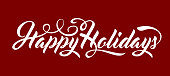 Happy Holidays calligraphic text on red background.