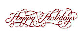 Happy Holidays calligraphic text on white background.