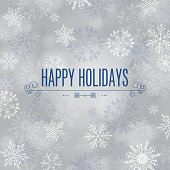 'Happy Holidays' on snowflake and bokeh background. Vector illustration.