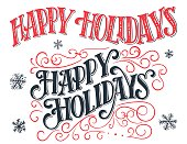 Happy holidays. Vintage hand-lettering set. Hand-drawn typography isolated on white background