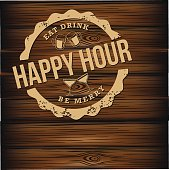 Happy hour carved wood background EPS 10 vector royalty free illustration for pubs, bars, nightclubs, restaurants, signage, posters, advertising, coasters, web, blogs, articles