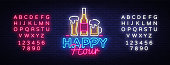 Happy Hour neon sign vector. Happy Hour Design template neon sign, Night Dinner, celebration light banner, neon signboard, nightly advertising, light inscription. Vector. Editing text neon sign.