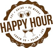 Happy hour stamp EPS 10 vector royalty free illustration for pubs, bars, nightclubs, restaurants, signage, posters, advertising, coasters, web, blogs, articles