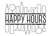 Happy hours black and white vector text with countour glasses and bottles on the bar shelves.