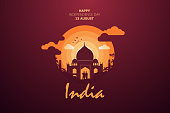Happy Independence Day of India for 15th August. Famous monument of India in Indian background. Vector illustration EPS10