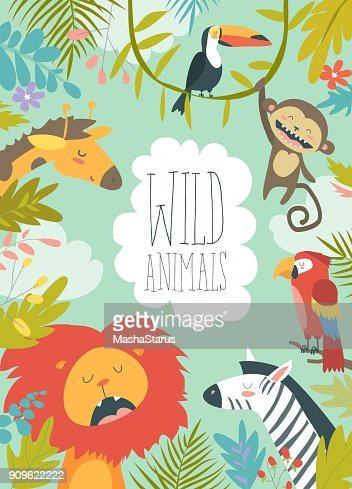Happy jungle animals creating a framed background : Arte vetorial